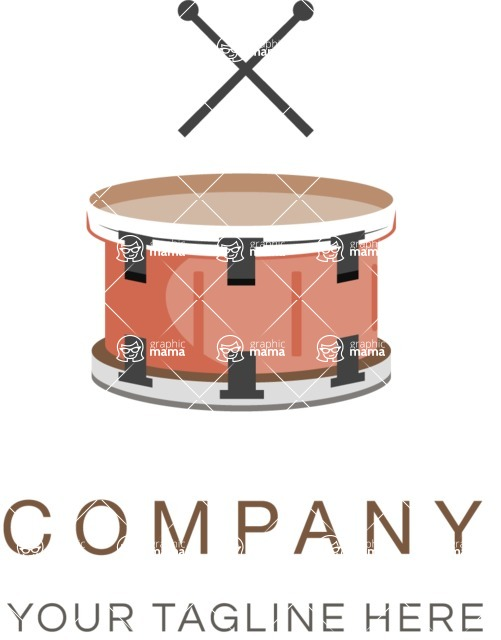 Business Logo Templates - vector graphics in a pack from GraphicMama - Music Company Logo Design with Drums